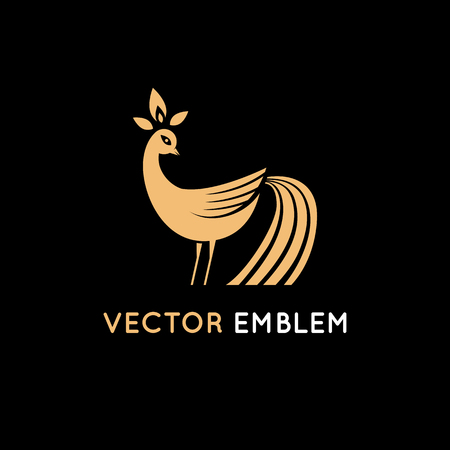 Vector  design template in minimal flat style - majic bird - natural emblem for beauty product Illustration