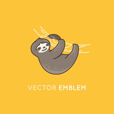 oso perezoso: Ilustración del vector en estilo sencillo plana - sonriendo y colgando de una rama de un árbol divertido del personaje de la pereza - perezoso y lento animal de la selva