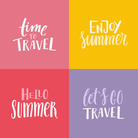 sun: Vector set of illustrations, poster, t-shirt print or greeting card design templates with hand lettering phrases for photo overlays and banners - enjoy summer, hello summer, time to travel, lets go travel Illustration