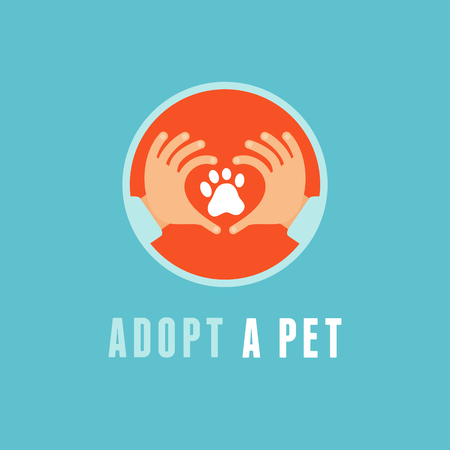 Vector emblem in flat style - adopt a pet - emblem with hands and animal paw