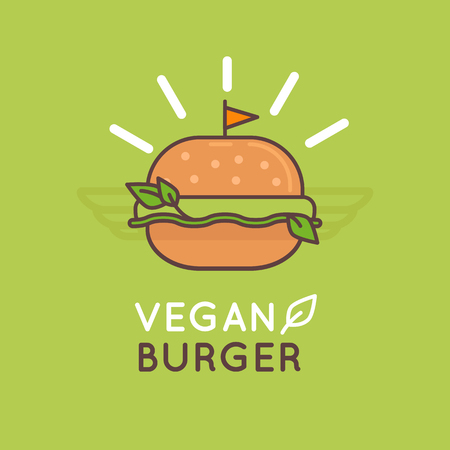 Vector illustration in flat and linear style - vegan burger - healthy food for vegetarian with greens and bread - food packaging or cafe  label Çizim