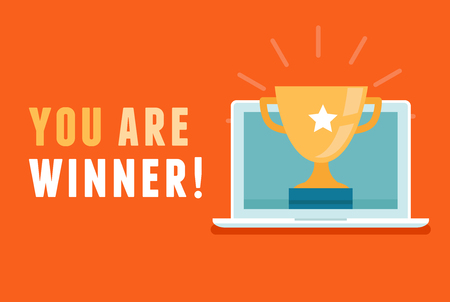star award: Vector banner with flat illustration - you are winner message - winning an online lottery, contest or giveaway concept - laptop with golden cup