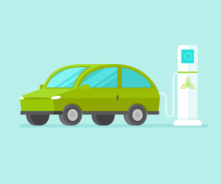 Electric car charging battery near station Illustration
