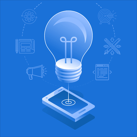 Vector illustration and infographic design template in flat and isometric style - light bulb and mobile phone - app development creative process