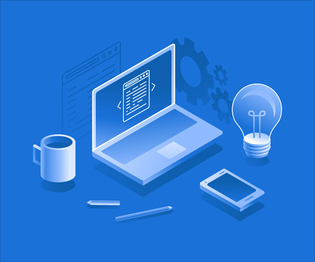 screen: Vector illustration in flat and isometric style - design thinking concept and app development -  laptop, light bulb, coffee cup, pencil and mobile phone - new idea development - creative process