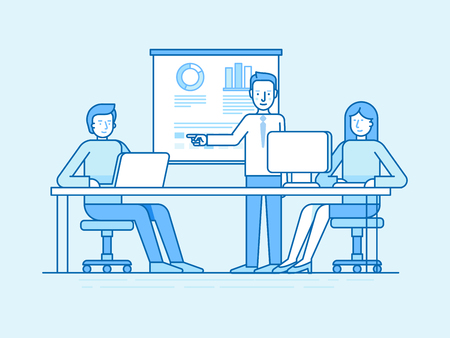 woman speaking: Vector illustration in flat linear style and blue colors - business conference and seminar - training for coworkers in the office - man and woman at computers and public speaking teacher Illustration