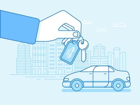 Vector illustration in flat linear style and blue colors - buying or renting a car concept - hand with keys and vehicle with city landscape on the background