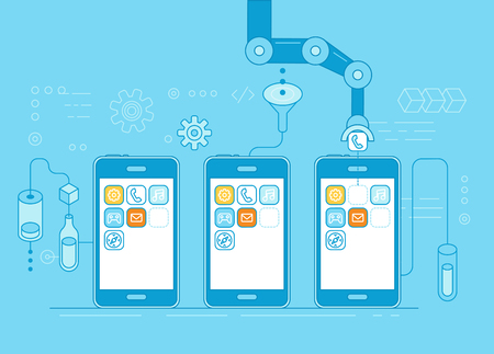telephone: Blue Vector illustration in flat linear style and blue colors - app development concept - robotic hand putting application in mobile phone - modern technology and code construction banner