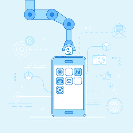 Robotic hand putting application in mobile phone - modern technology and code construction banner
