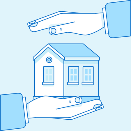 A Vector illustration in flat linear style and blue colors - home insurance concept - hands protecting and supporting house Illusztráció