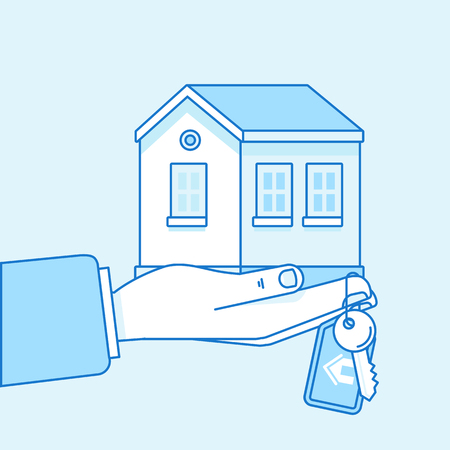A Vector illustration in flat linear style and blue colors - home insurance and purchase concept - hand holding house and keys