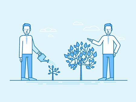 Een vectorillustratie in vlakke lineaire stijl en blauwe kleuren - tijd en moeite investeren in groeiende bedrijfsconcept - man die kleine plant watert en resultaten krijgt als een grote boom