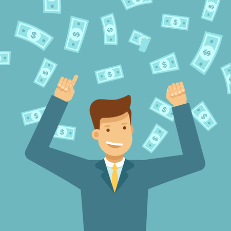A Vector illustration in flat style - happy man winning money lottery - dollar rain falling on lucky guy - business success concept