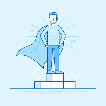 A Vector illustration in trendy flat linear style in blue colour - business competition winner - man standing on the podium on the first place - super hero