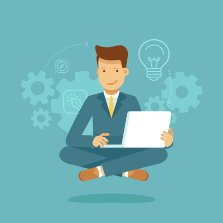 character cartoon: A Vector illustration and infographic design in flat style - man sitting in lotus pose with laptop - freelance or outsource worker - business man working on start up Illustration