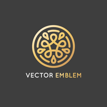 Vector logo design template and emblem made with infinite lines - golden luxury beauty spa concept - badge for yoga studios, holistic medicine centers, natural and organic food products and packaging Ilustração