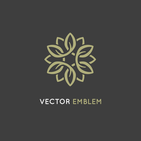 Vector logo design template and emblem made with infinite lines - luxury beauty spa concept - badge for yoga studios, holistic medicine centers, natural and organic food products and packaging