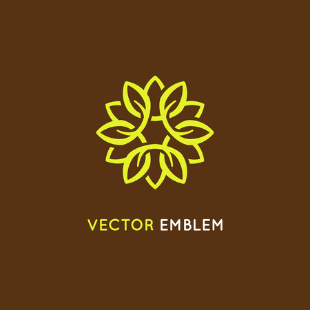 Vector logo design template and emblem made with petals - luxury beauty spa concept - green badge for yoga studios, holistic medicine centers, natural and organic food products and packaging