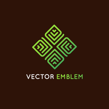 centers: Vector logo design template and emblem made with  lines - green beauty spa concept - badge for yoga studios, holistic medicine centers Illustration