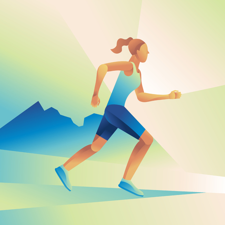 race winner: Vector illustration and infographic design in flat gradient style - woman running marathon concept - sport poster and banner Illustration