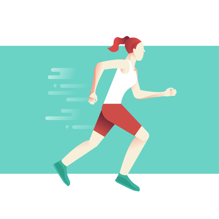 Vector illustration and infographic design in flat gradient style - woman running marathon concept - sport poster and banner Illustration