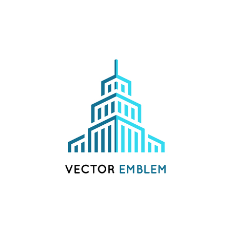 office building: Vector logo design template in clean, simple and minimal style. Illustration
