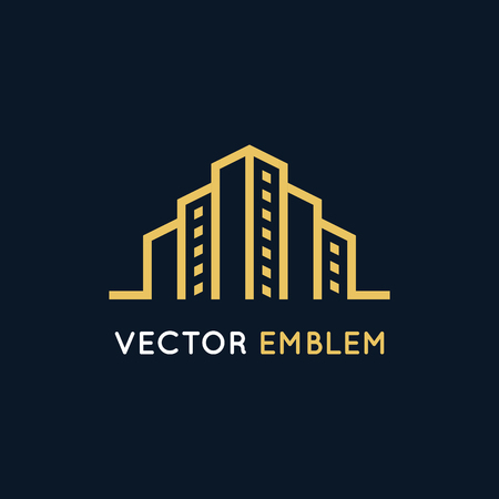 city: Vector logo design template in clean, simple and minimal style. Illustration
