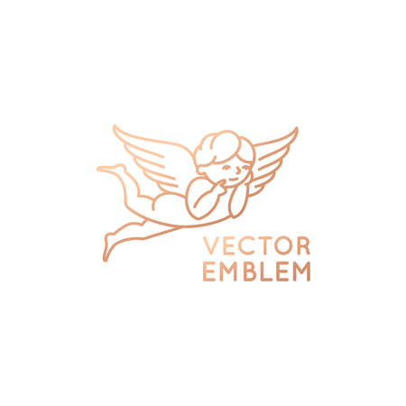 Vector logo design template in linear style - cute baby angel with wings - kid store emblem.