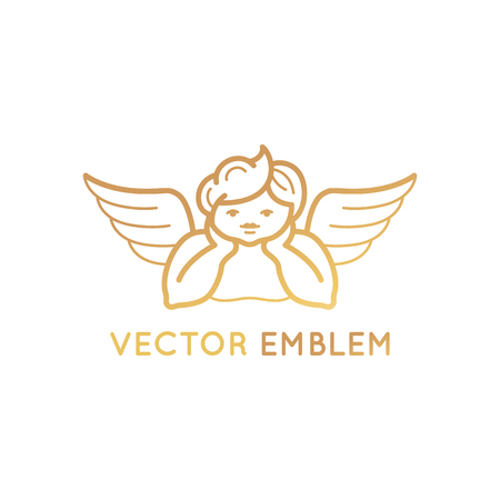 gold: Vector logo design template in linear style - cute baby angel with wings - kid store emblem.