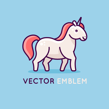 Vector logo design template in flat and linear style with happy and friendly unicorn.