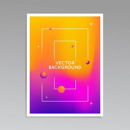 composition: Vector design template and illustration in trendy bright gradient colors Illustration
