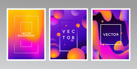 abstract waves: Vector design template and illustration in trendy bright gradient colors Illustration