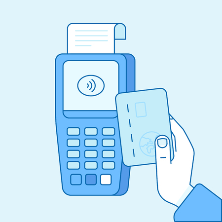digital: Vector flat linear illustration in blue colors - contactless payment concept - hand holding credit card and check out