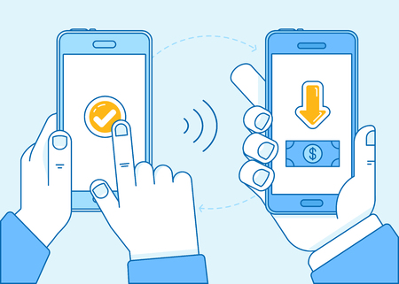 communication: Vector flat linear illustration in blue colors - contactless payment concept - hands holding mobile phones and transfering money