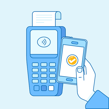 telephone: Vector flat linear illustration in blue colors - contactless payment concept - hand mobile phone and check out Illustration
