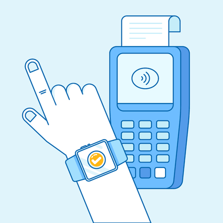 Vector flat linear illustration in blue colors - contactless payment concept - hand with smart watch and check out