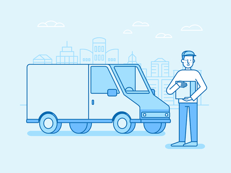 car speed: Vector illustration in flat linear style and blue colors - delivery concept - truck and friendly man with box from internet shop - fast shipping