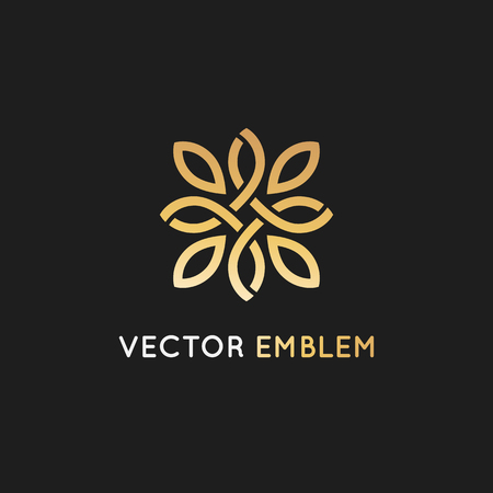 Vector logo ontwerpsjabloon en embleem met bloemblaadjes en lijnen - luxe schoonheid spa concept - gouden badge voor yogastudio's, holistische geneeskunde centra, natuurlijke en biologische voedingsproducten en verpakking