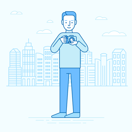 Vector illustration in flat linear style and blue colors - traveling man with camera - tourism concept