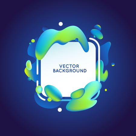 wave: Vector design template and illustration in trendy bright gradient colors with abstract fluid shapes, paint splashes, ink drops and copy space for text - futuristic posters, banners and cover designs