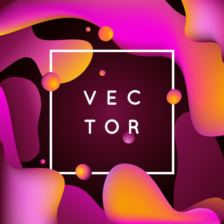 cover: Vector design template and illustration in trendy bright gradient colors with abstract fluid shapes, paint splashes, ink drops and copy space for text - futuristic posters, banners and cover designs