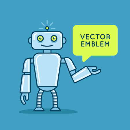 logo: Vector logo design template in flat and simple style - robot mascot - emblem for startups, kids services and science courses, technology companies, illustration with speech bubble and space for text - user support and help Illustration