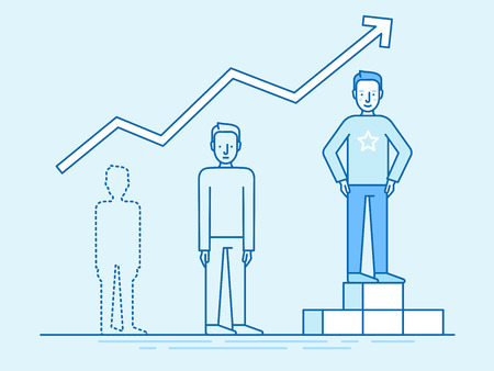 stars: Vector illustration in trendy flat linear style in blue colour - business growth and career achievement concept - man from zero to standing on the podium on the first place infographics design elements