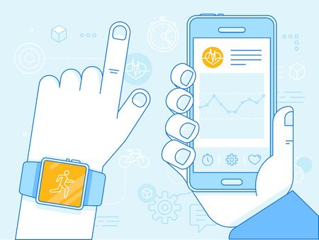 Vector flat linear illustration - health app on the mobile phone and smart watch - health monitoring with mobile gadgets concept Illustration