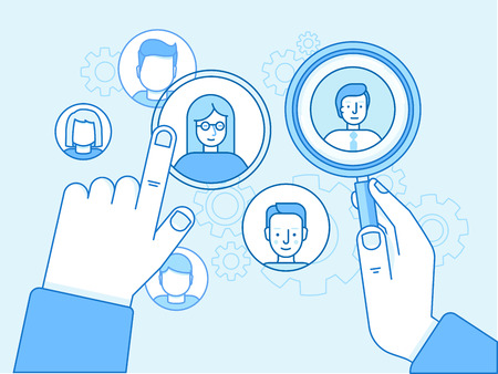 Vector illustration in modern flat linear style and blue colors - remote and outsource team control and human resources management concept - hand pointing at employee avatars