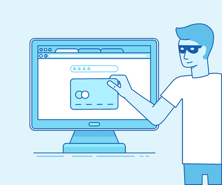 Vector illustration in modern flat linear style - hacker stealing credit card data in the process of online payment - email viruses, bank account hacking and fraud concept Illustration