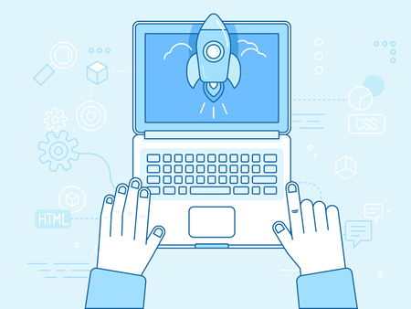 Vector flat linear illustration in blue colors - programming and coding concept - startup infographics - laptop icon top view with hands and starting space ship