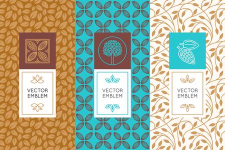 デザイン要素とチョコレートとココアの包装 - ラベルと背景のシームレス パターンのベクトルを設定