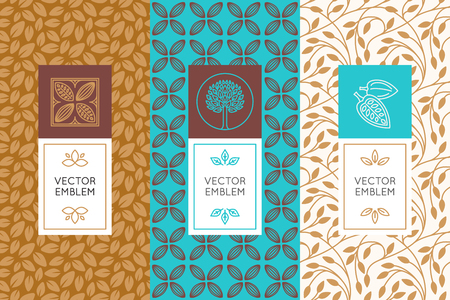 Vector set of design elements and seamless patterns for chocolate and cocoa packaging - labels and backgrounds Vectores