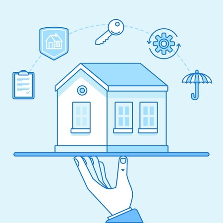 protect: Vector illustration and infographics design elements in modern flat linear style - home insurance concept - hands protecting and supporting house Illustration
